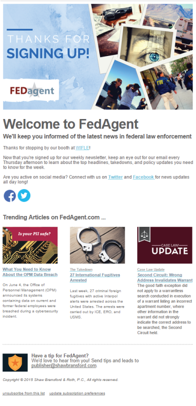 welcome fedagent email