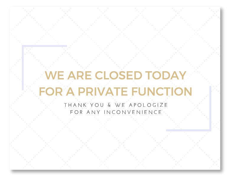 closed today party sign